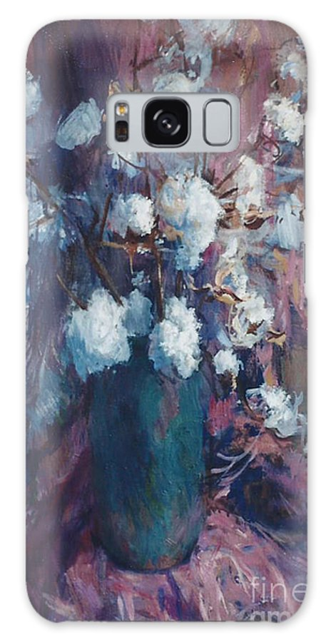 Still Life Galaxy S8 Case featuring the painting Vase Of Cotton by Richard Henderson