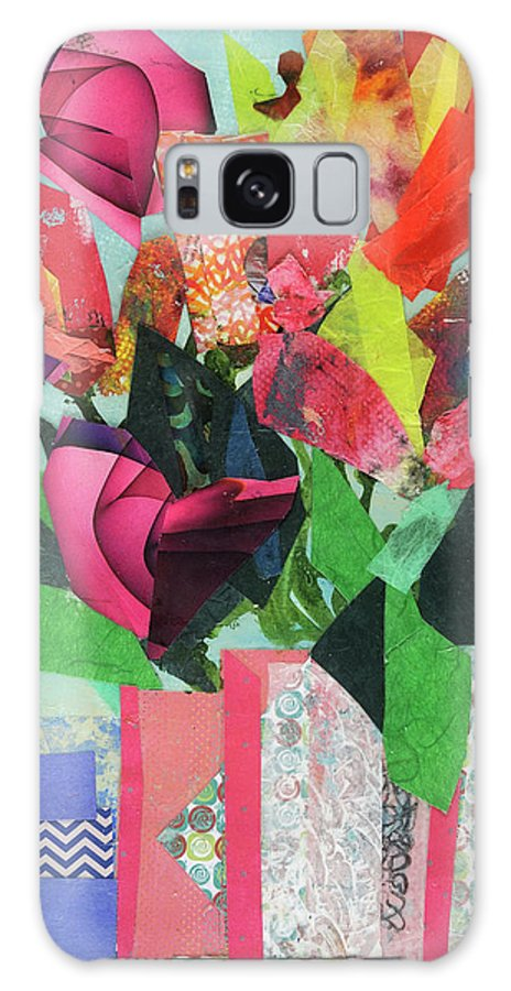 Mixed Media Floral Painting Cathy Hirsh Galaxy S8 Case featuring the painting Summer Frolic by Cathy Hirsh