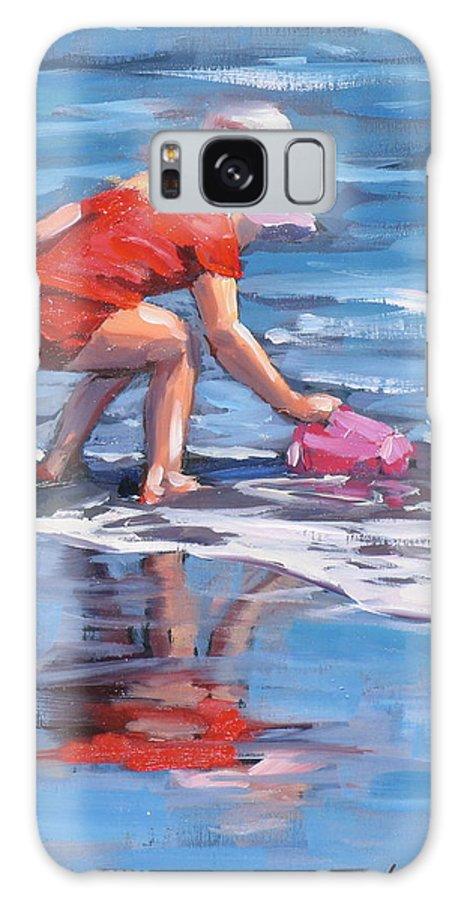 Beach Scene Galaxy S8 Case featuring the painting Summer Fun by Laura Lee Zanghetti