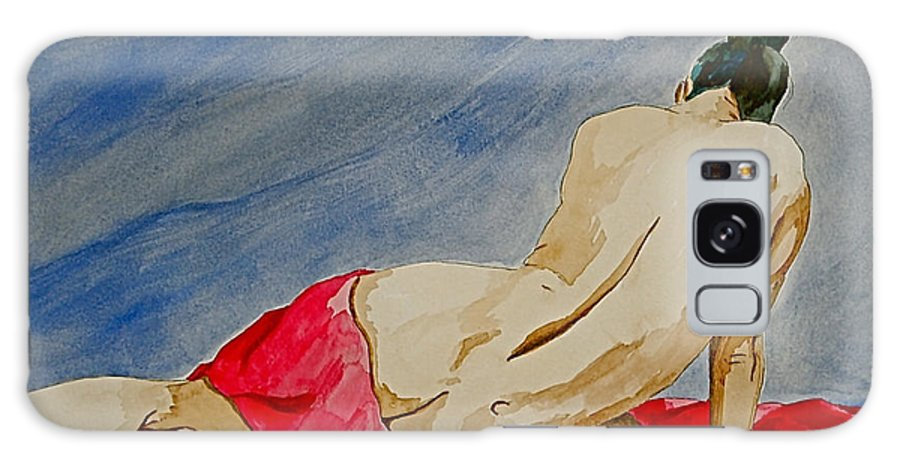 Nudes Red Cloth Galaxy Case featuring the painting Summer Morning 2 by Herschel Fall