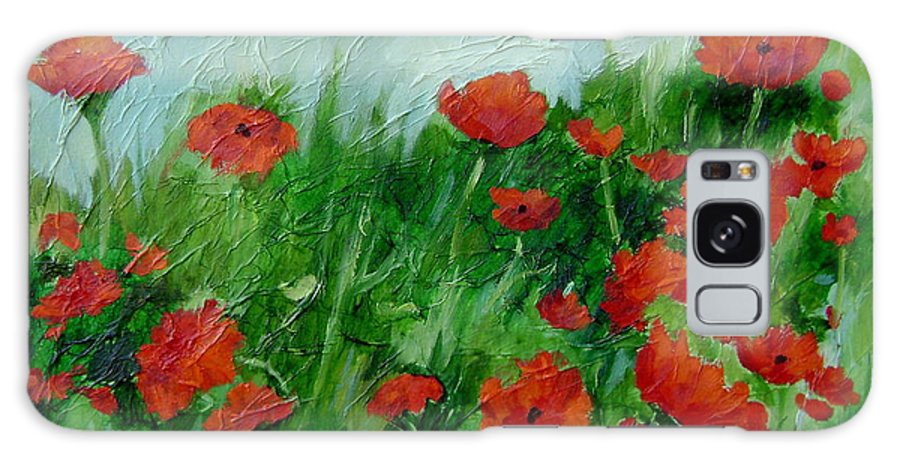 Red Poppies Galaxy S8 Case featuring the painting Summer Poppies by Ginger Concepcion