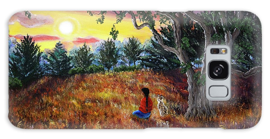 Landscape Galaxy S8 Case featuring the painting Summer Sunset Meditation by Laura Iverson