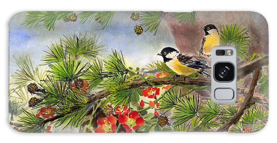 Chinese Trumpet Vine Galaxy Case featuring the painting Summer Vine With Pine Tree by Eileen Fong