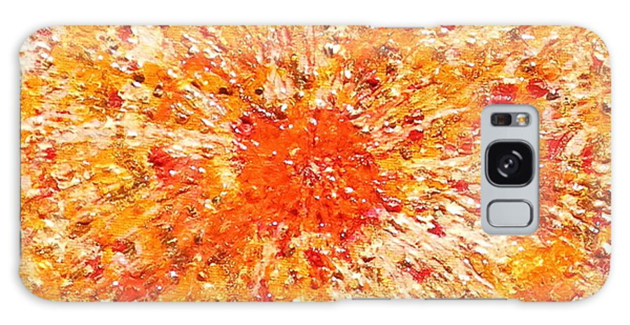 Abstract Art Boys Christmas Contemporary Cool Ebsq Expressionist Fantasy Holiday Mens Metallic Modern Original Painting Postage Red Wwao Yellow Galaxy S8 Case featuring the painting Sun Burst by Dawn Hough Sebaugh