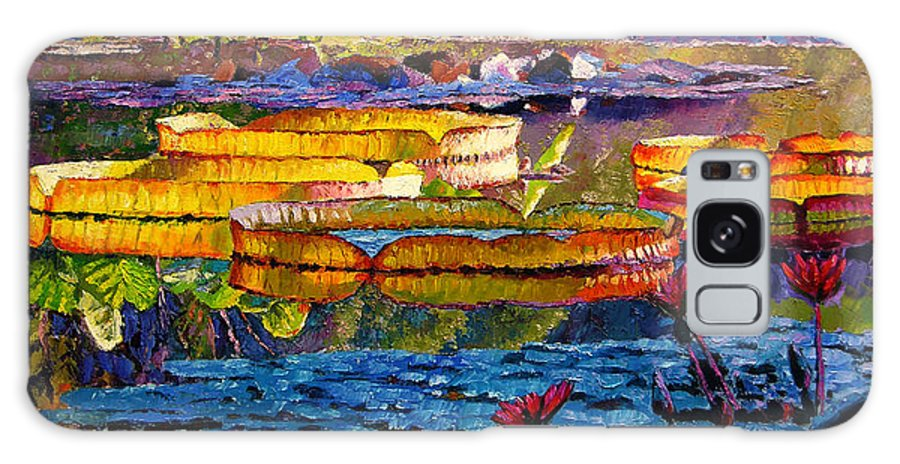 Water Lilies Galaxy Case featuring the painting Sun Color And Paint by John Lautermilch