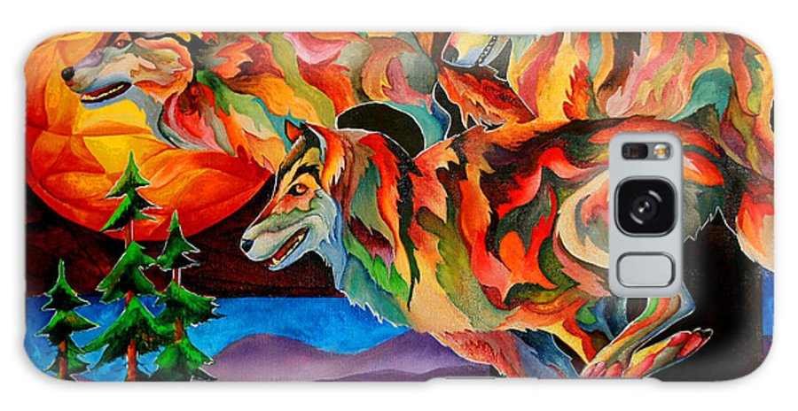 Wolf Galaxy S8 Case featuring the painting Sun Dance by Sherry Shipley