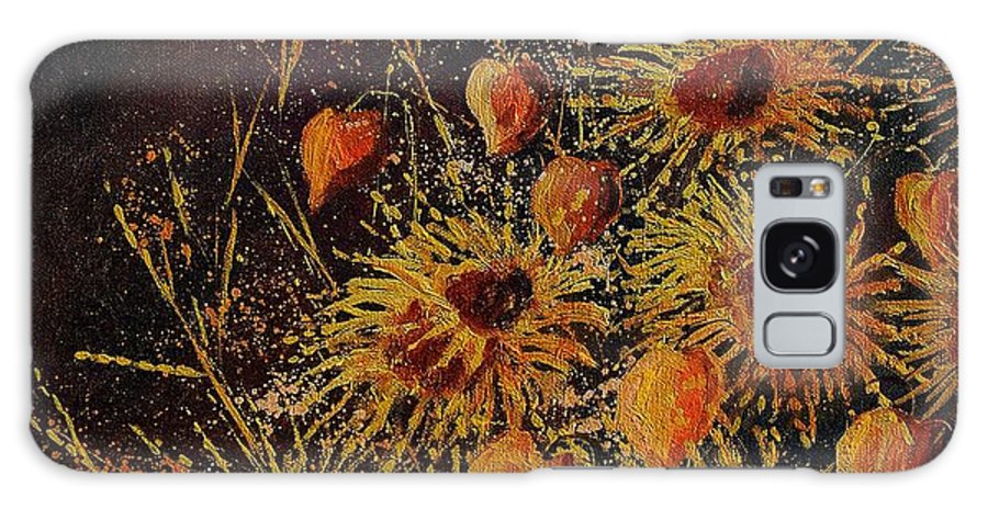 Flowers Galaxy S8 Case featuring the painting Sun Flowers And Physialis by Pol Ledent