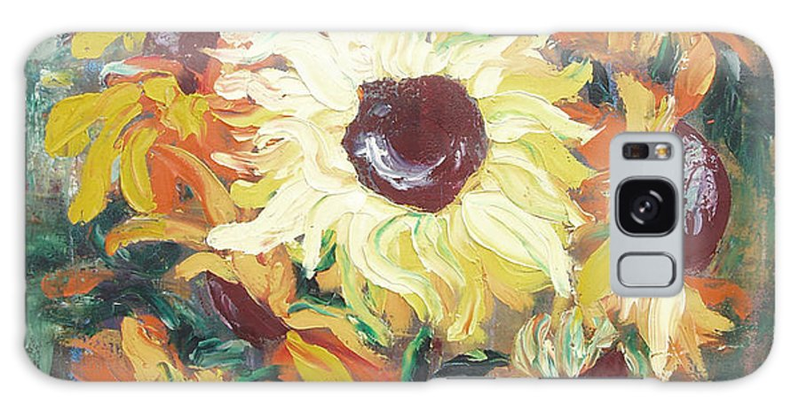 Sunflowers Galaxy S8 Case featuring the painting Sun In A Vase by Gina De Gorna