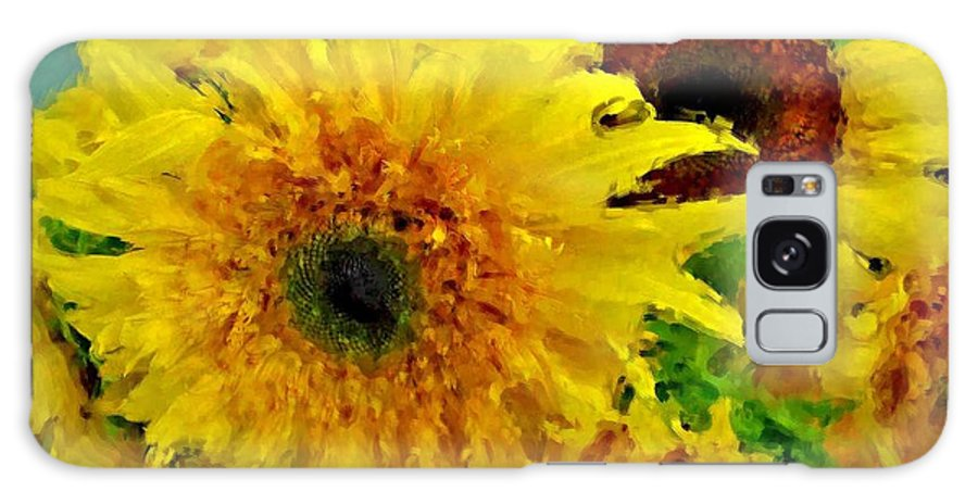 Sunflowers Galaxy S8 Case featuring the painting Sunflowers - Light And Dark by Michael Thomas