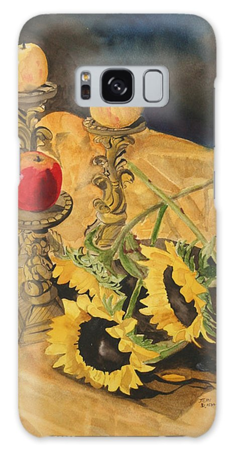 Still Life Galaxy S8 Case featuring the painting Sunflowers And Apples by Jean Blackmer