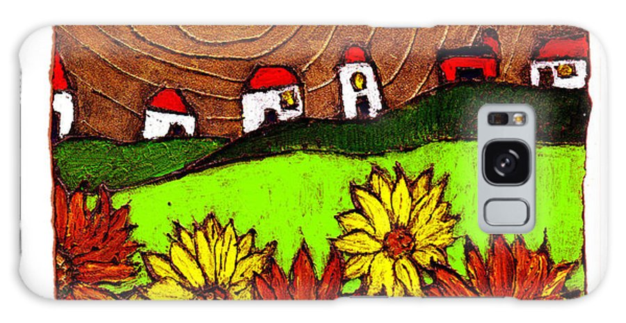 Flowers Galaxy Case featuring the painting Sunflowers And Fields by Wayne Potrafka