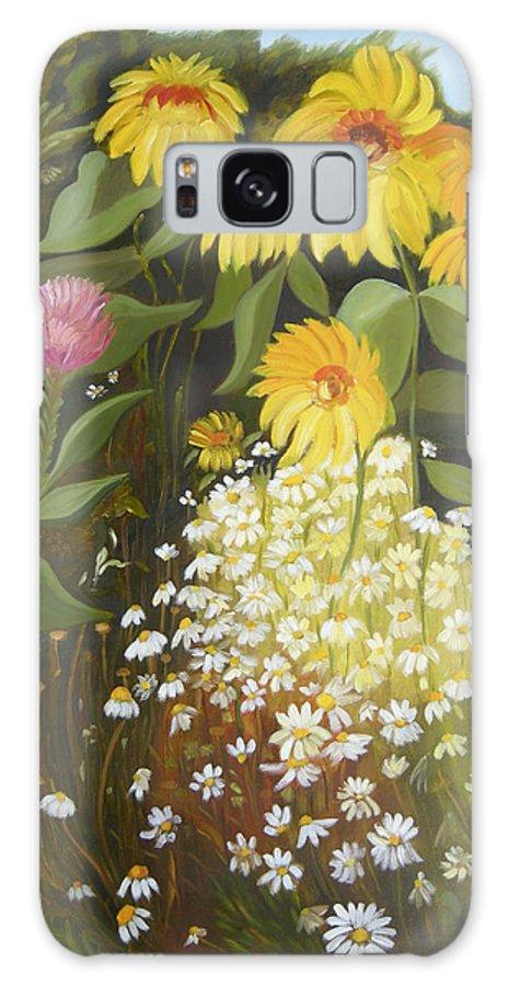 Landskape Galaxy S8 Case featuring the painting Sunflowers by Antoaneta Melnikova- Hillman
