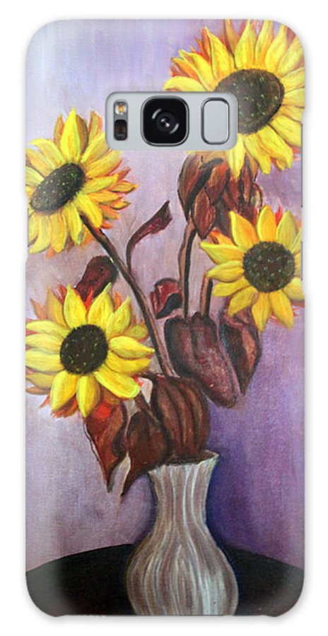 Sunflowers Galaxy Case featuring the painting Sunflowers For My Daughter by Pilar Martinez-Byrne