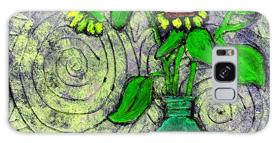 Sunflowers Galaxy Case featuring the painting Sunflowers In A Green Vase by Wayne Potrafka
