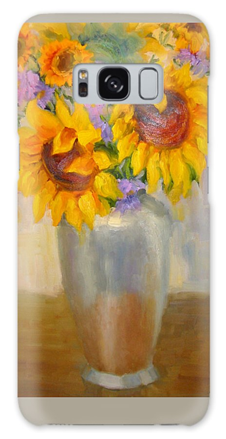 Sunflowers Galaxy S8 Case featuring the painting Sunflowers In A Silver Vase by Bunny Oliver