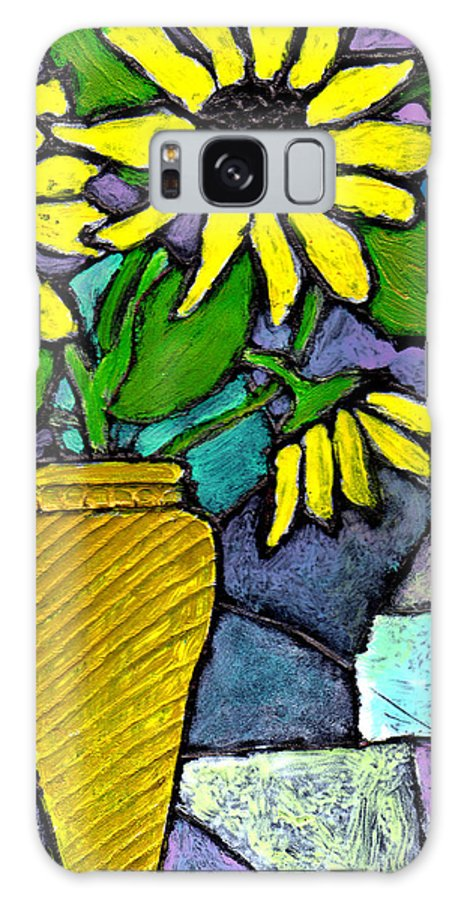 Flowers Galaxy S8 Case featuring the painting Sunflowers In A Vase by Wayne Potrafka