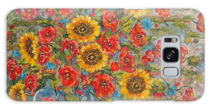 Flowers Galaxy Case featuring the painting Sunflowers In Blue Pitcher. by Leonard Holland