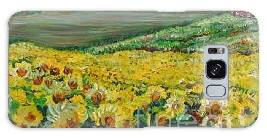 A Field Of Yellow Sunflowers Galaxy S8 Case featuring the painting Sunflowers In Provence by Nadine Rippelmeyer
