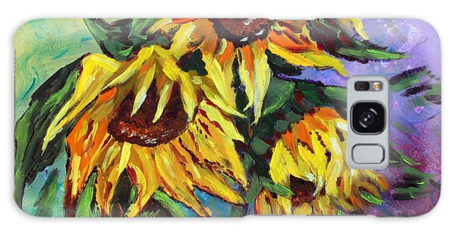 Art Galaxy S8 Case featuring the painting Sunflowers In The Rain by Luiza Vizoli