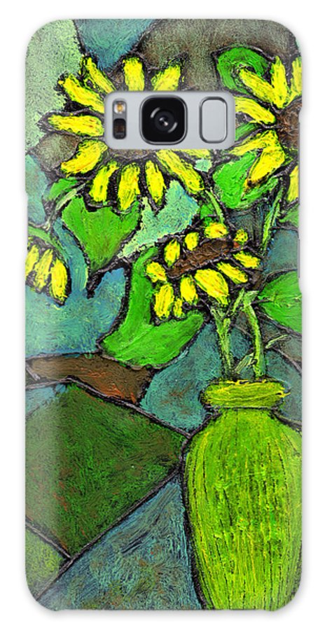 Sunflowers Galaxy Case featuring the painting Sunflowers In Vase Green by Wayne Potrafka