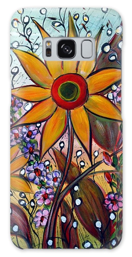 Flowers Galaxy S8 Case featuring the painting Sunflowers by Luiza Vizoli