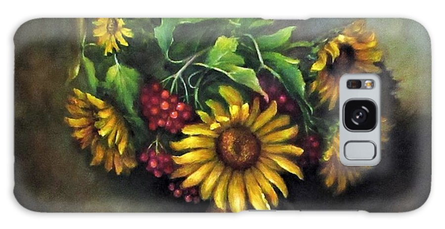 Berries Galaxy Case featuring the painting Sunflowers oil canvas painting by Natalja Picugina