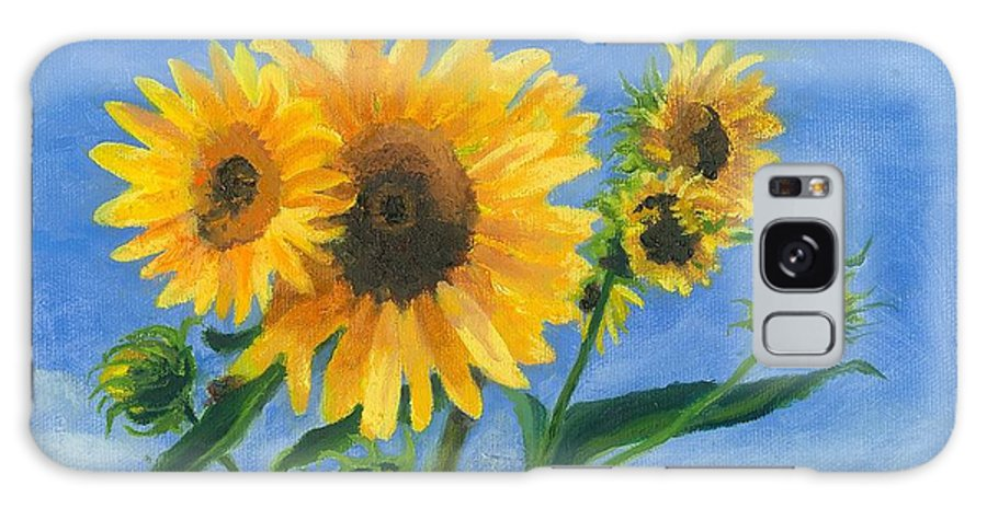 Flowers Galaxy Case featuring the painting Sunflowers On Bauer Farm by Paula Emery