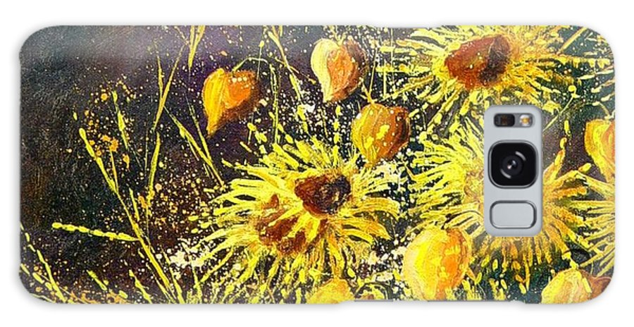 Flowers Galaxy S8 Case featuring the painting Sunflowers by Pol Ledent