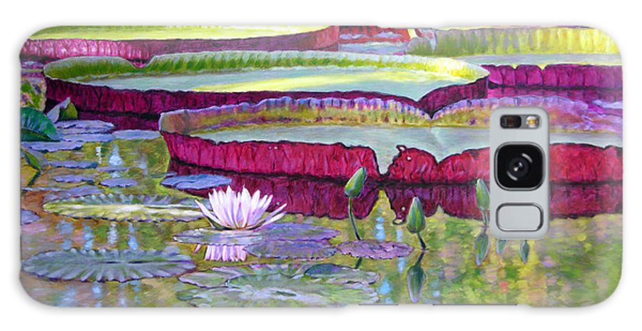 Lily Pond Galaxy Case featuring the painting Sunlight On Lily Pads by John Lautermilch