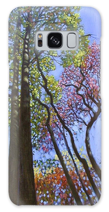 Fall Trees Highlighted By The Sun Galaxy Case featuring the painting Sunlight On Upper Branches by John Lautermilch