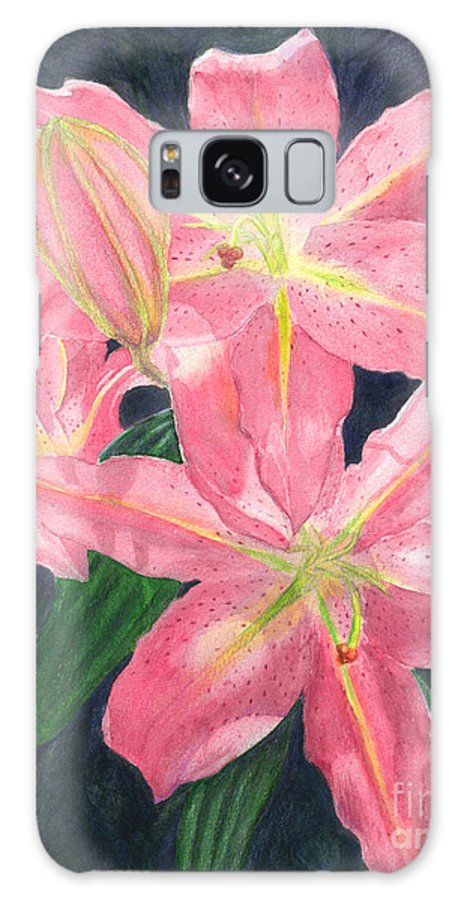 Floral Galaxy S8 Case featuring the painting Sunlit Lilies by Lynn Quinn