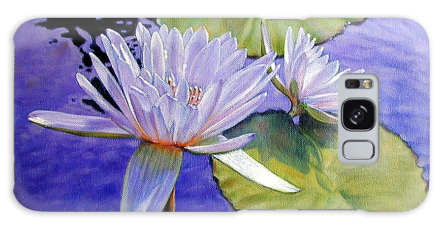 Water Lilies Galaxy Case featuring the painting Sunlit Petals by John Lautermilch