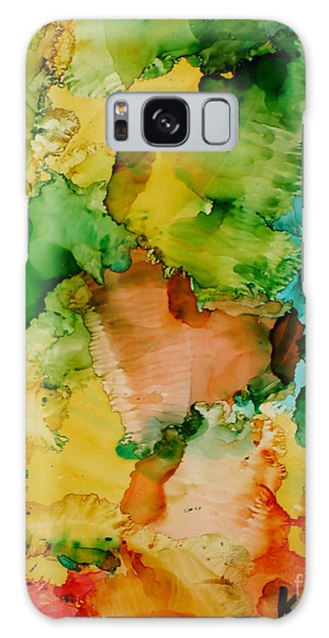 Abstract Galaxy S8 Case featuring the painting Sunlit Reef by Susan Kubes