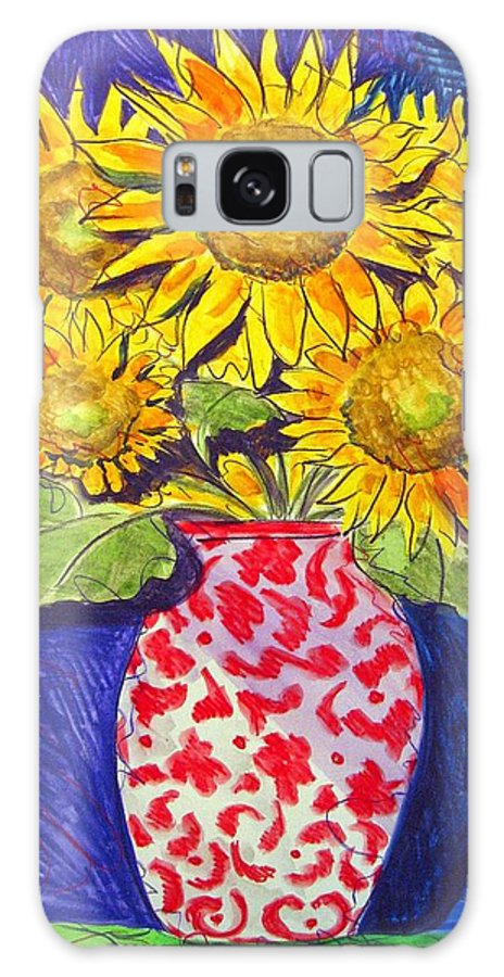 Sunflower Galaxy S8 Case featuring the painting Sunny Disposition by Jean Blackmer