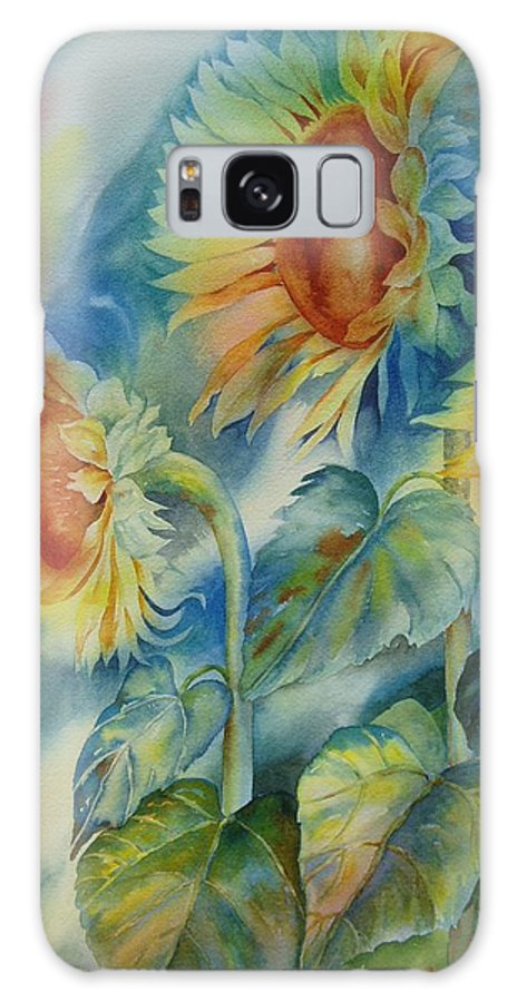 Sunflowers Galaxy Case featuring the painting Sunny Flowers by Tara Moorman