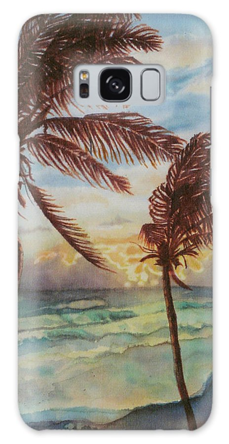Coconut Tree Galaxy S8 Case featuring the painting Sunrise At Cattlewash 4 by Deborah Younglao
