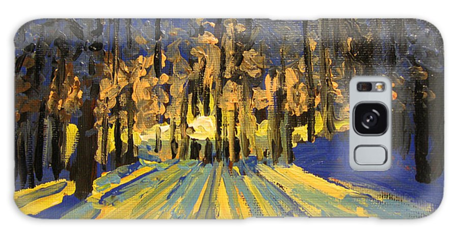 Landscape Galaxy Case featuring the painting Sunrise Forest Modern Impressionist Landscape Painting by Patricia Awapara
