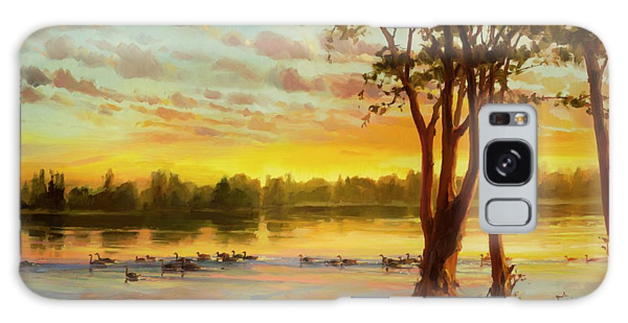 Landscape Galaxy Case featuring the painting Sunrise On The Columbia by Steve Henderson