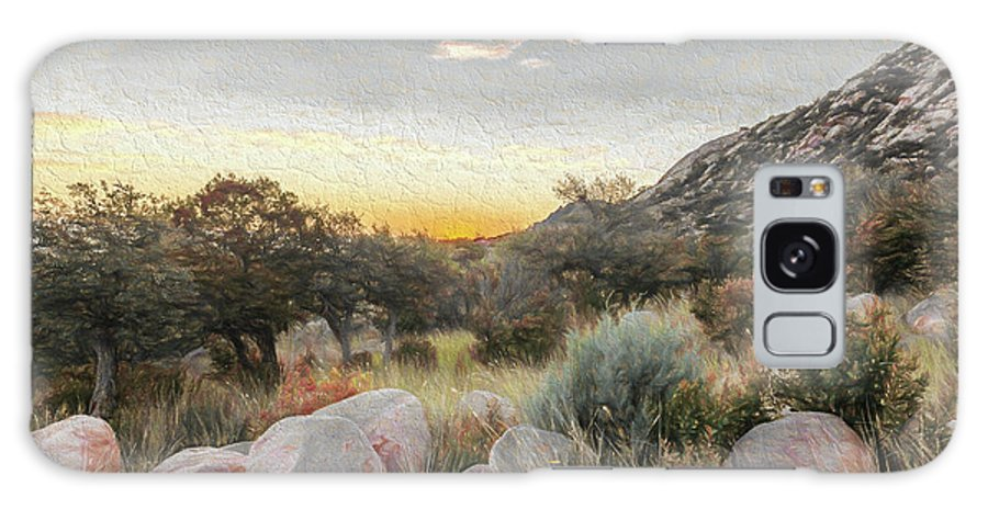 New Mexico Galaxy S8 Case featuring the digital art Sunrise, Organ Moutains by Bryan Pridgeon