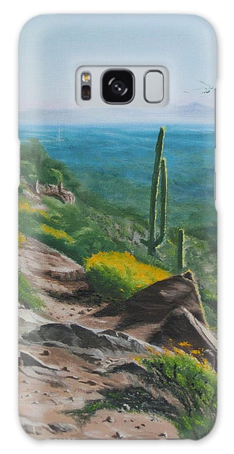 Landscape Galaxy S8 Case featuring the painting Sunrise Trail by Lea Novak