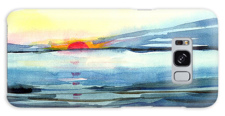 Landscape Seascape Ocean Water Watercolor Sunset Galaxy Case featuring the painting Sunset by Anil Nene