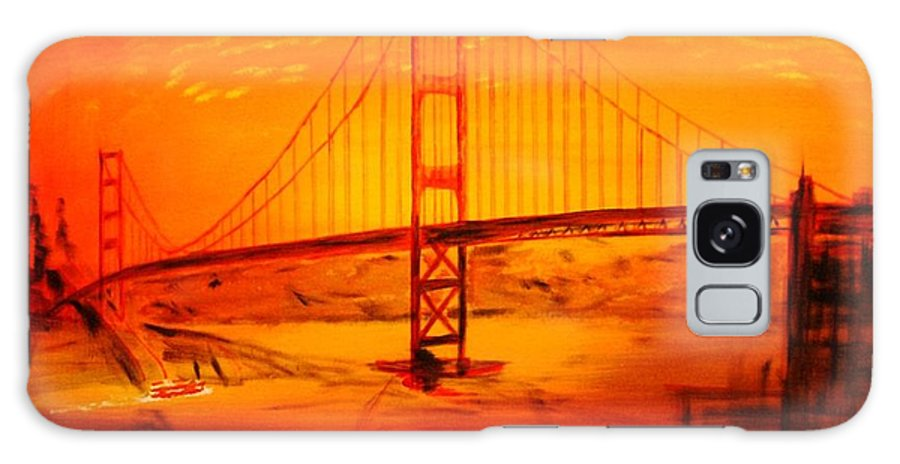 Sunset At Golden Gate Galaxy S8 Case featuring the painting Sunset At Golden Gate by Helmut Rottler