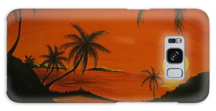 Beach Galaxy S8 Case featuring the painting Sunset Beach by Ashley Warbritton