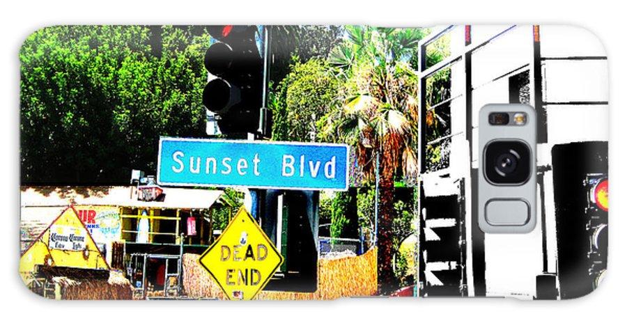 Stoplight On Sunset Blvd Galaxy Case featuring the digital art Sunset Blvd by Maria Kobalyan