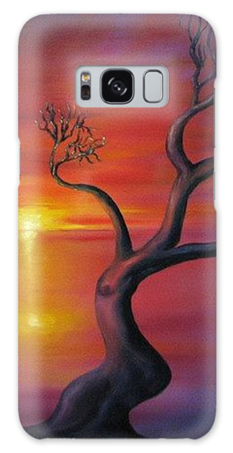 Landscape Galaxy Case featuring the painting Sunset Dance Fantasy Oil Painting by Natalja Picugina