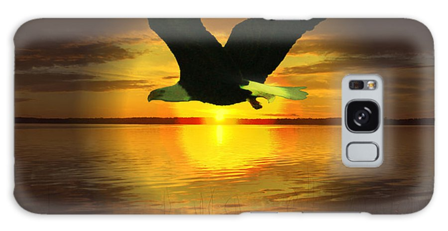Sunset Eagle Water Lake Birds Of Prey Hunting Flying Skyscape Galaxy S8 Case featuring the photograph Sunset Eagle by Andrea Lawrence