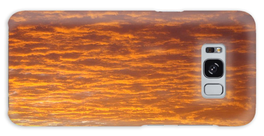 Sunset Galaxy S8 Case featuring the photograph Sunset Fiery Orange Sunset Art Prints Sky Clouds Giclee Baslee Troutman by Baslee Troutman