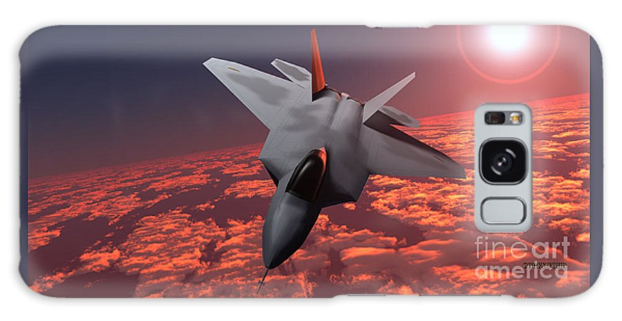 Fighter Galaxy S8 Case featuring the painting Sunset Fire F22 Fighter Jet by Corey Ford
