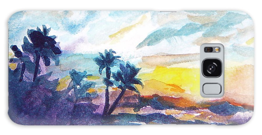 Landscape Galaxy Case featuring the painting Sunset In Hawaii by Jan Bennicoff