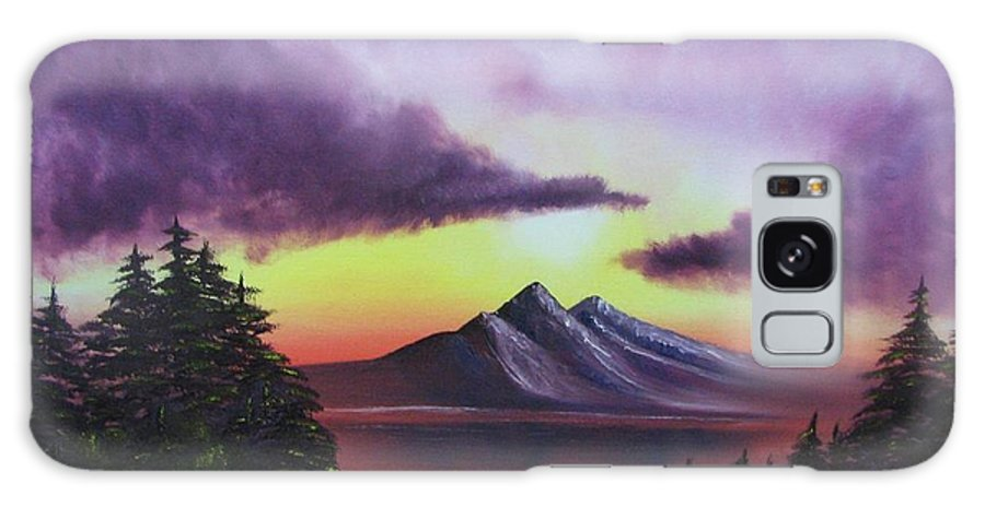 Sunset Galaxy S8 Case featuring the painting Sunset In Mountains Original Oil Painting by Natalja Picugina